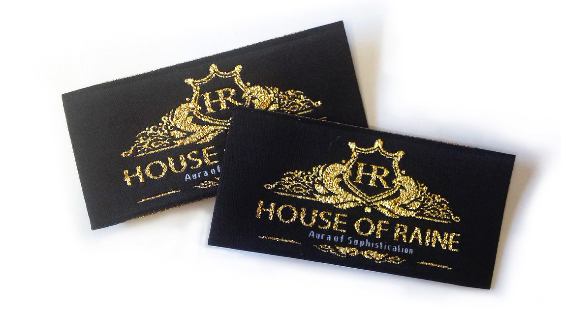 Black and Gold Woven Fabric Labels
